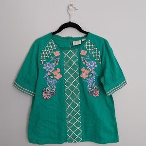 Anthropologie embroidered shirt